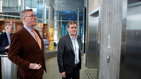 Orkla la tirsdag frem tall for første kvartal. Her er hovedeier Stein Erik Hagen med konsernsjef Peter Ruzicka. Kommunikasjonsdirektør Håkon Mageli i bakgrunnen.