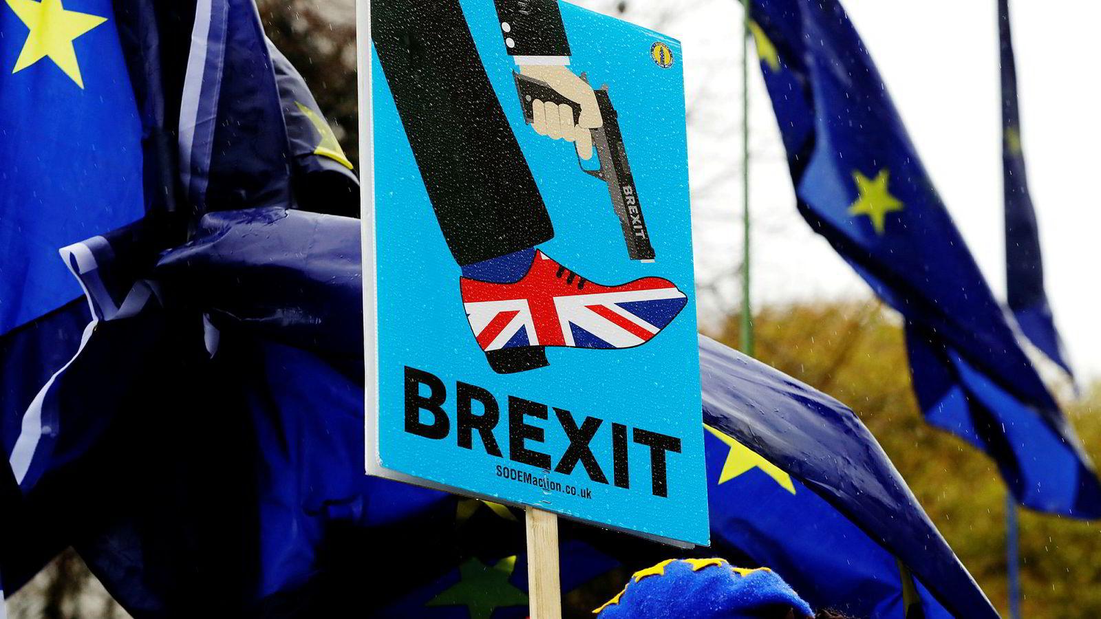 Brexit-motstandere demonstrerer utenfor det britiske parlamentet i London tidligere denne måneden.