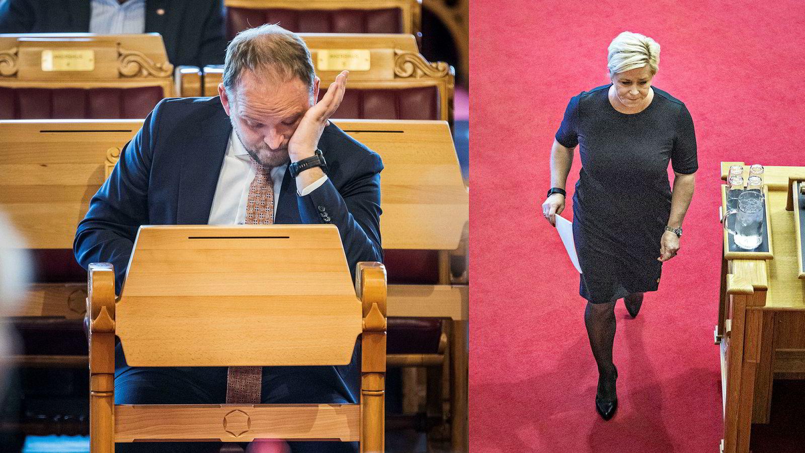 Samferdselsminister Jon Georg Dale (Frp) og Frp-leder og finansminister Siv Jensen har en bomnøtt å knekke.