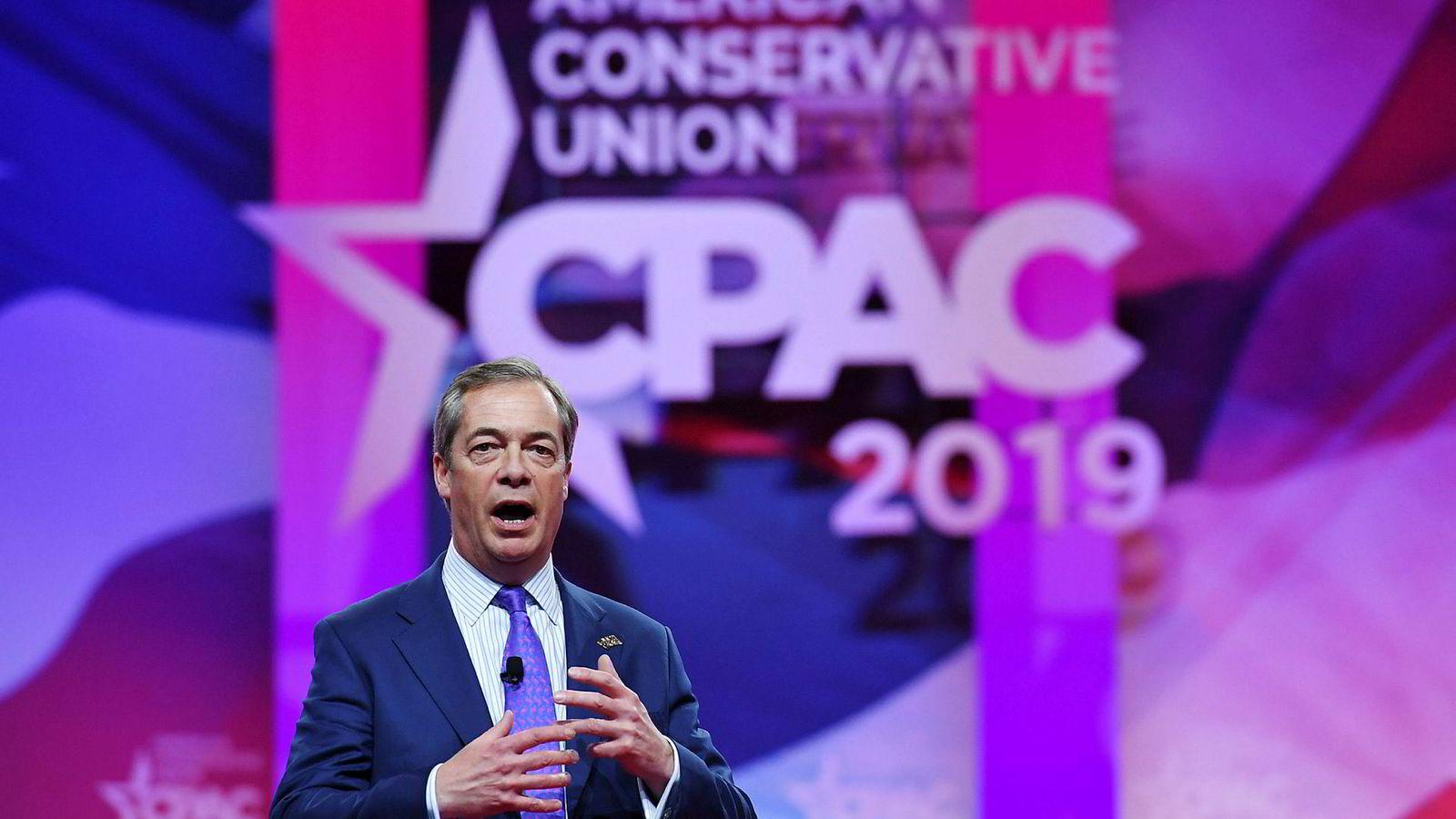 Nigel Farage, brexit-forkjemper og tidligere leder av UK Independence Party, på konferansen Conservative Political Action Conference (CPAC) i National Harbor i Maryland tidligere denne måneden.