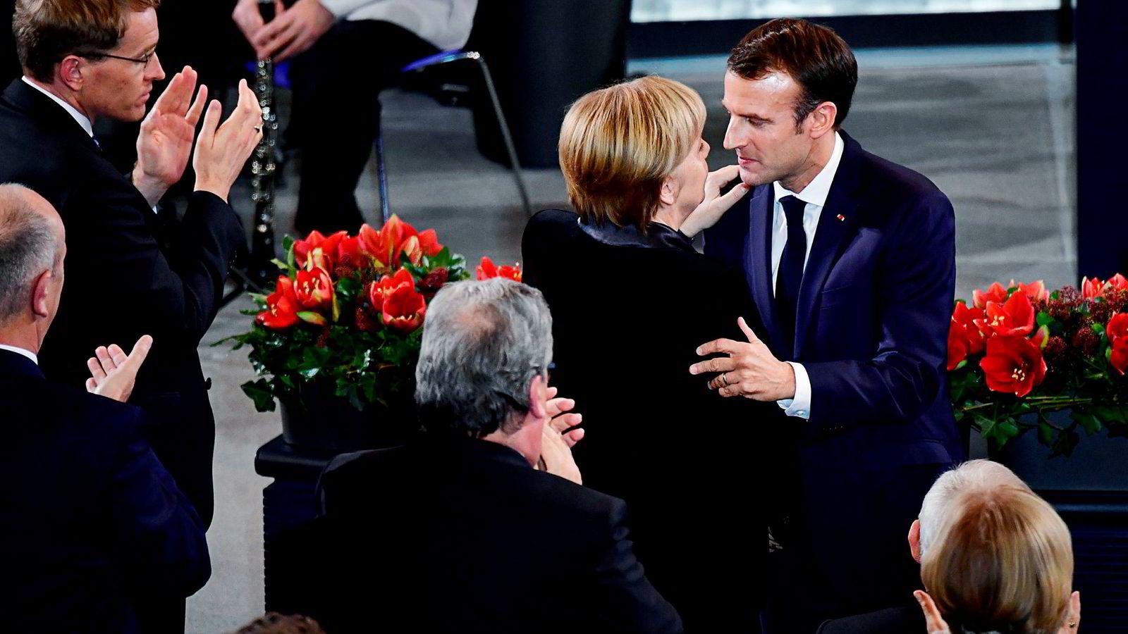 Frankrikes president Emmanuel Macron og Tysklands forbundskansler Angela Merkel er regnet som motorene i EU-samarbeidet, men begge er i øyeblikket politisk svekket.