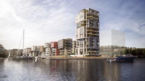 13.etasjer høye Signaturen blir Selvaag Boligs nye prestisjebygg på Kaldnes Brygge i Tønsberg. Toppleiligheten har fått en pris på 25,5 millioner kroner.                   Illustrasjon: Spir Arkitekter AS