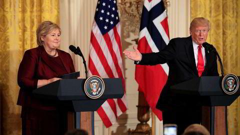 Statsminister Erna Solberg (H) besøkte USAs president Donald Trump i Det hvite hus i fjor.