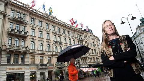 Ulrika Boëthius leder Sveriges største fagforening for ansatte innen bank- og finansbransjen. Nå frykter hun at en ny «straffeskatt» blir pålagt finanssektoren. Foto: Elin Høyland