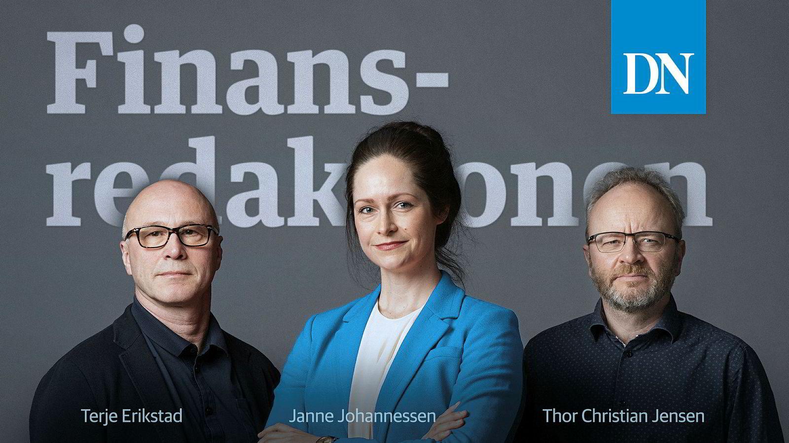 Promobilde podkasten Finansredaksjonen med Terje Erikstad, Janne Johannessen og Thor Christian Jensen.