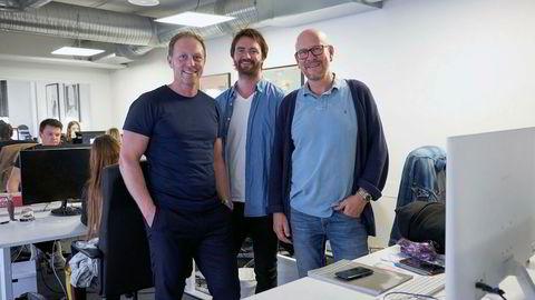 Kjetil Try (til høyre) og Martin Bentzen (til venstre) i GroupM samarbeider om et nytt mediebyrå, som skal ledes av Gunnar Stensaker (midten).
