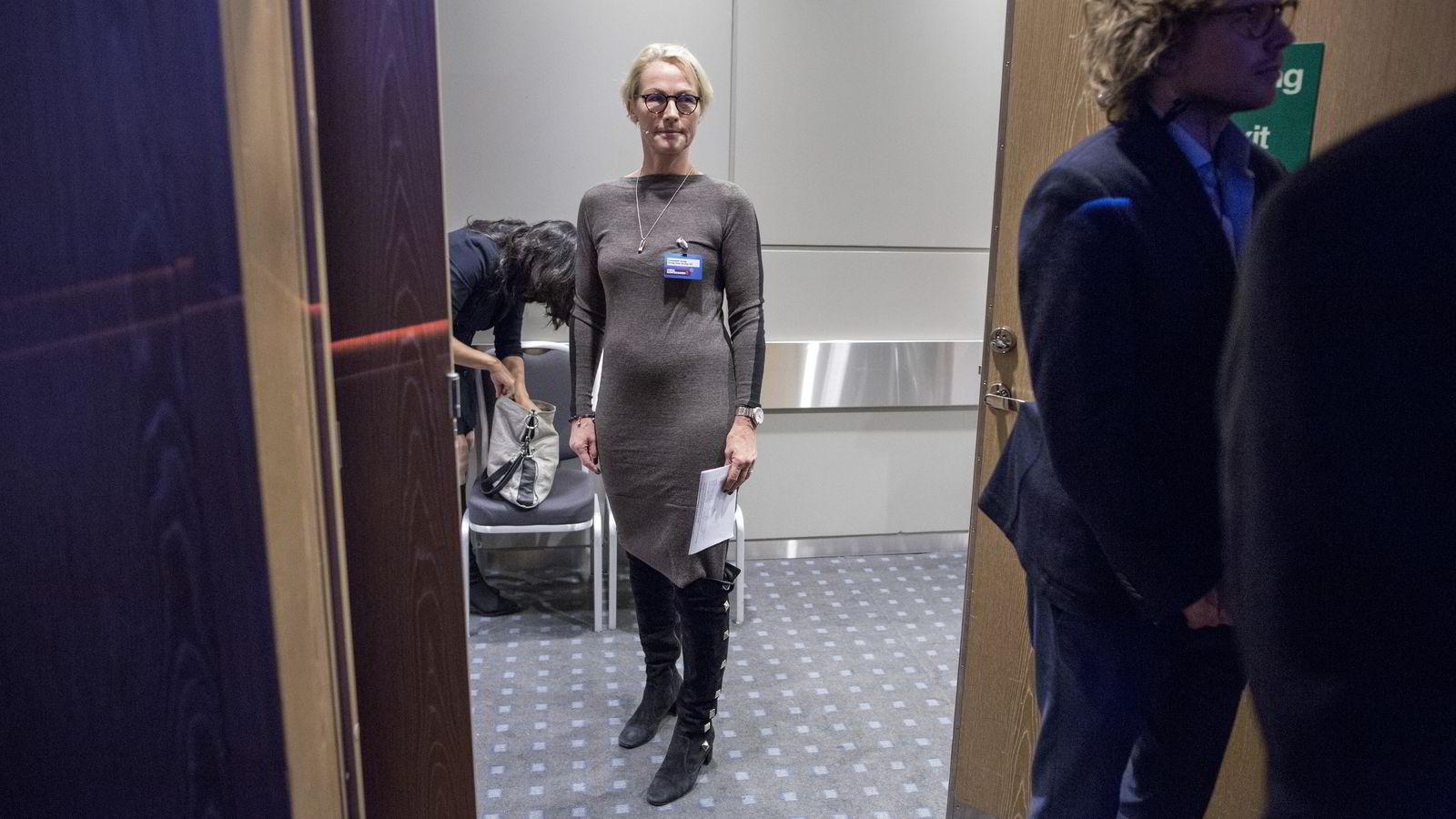 PÅ KONFERANSE. Skipsreder Elisabeth Grieg er pekt på som en mulig kandidat til  styrelederjobben i Telenor. FOTO: Aleksander Nordahl
