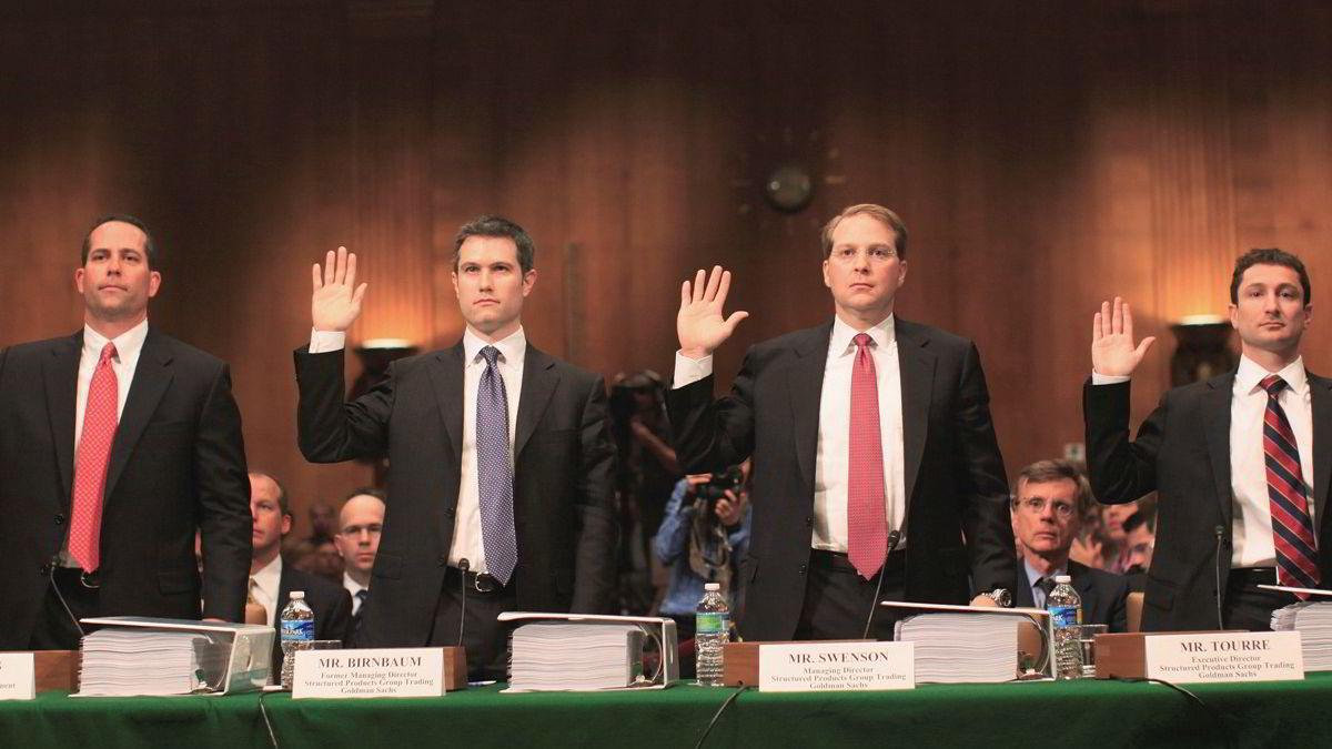 Fabrice Tourre (ytterst til høyre), Goldman Sachs-direktøren som står i sentrum for bedrageritiltalen, benekter alle SECs påstander.