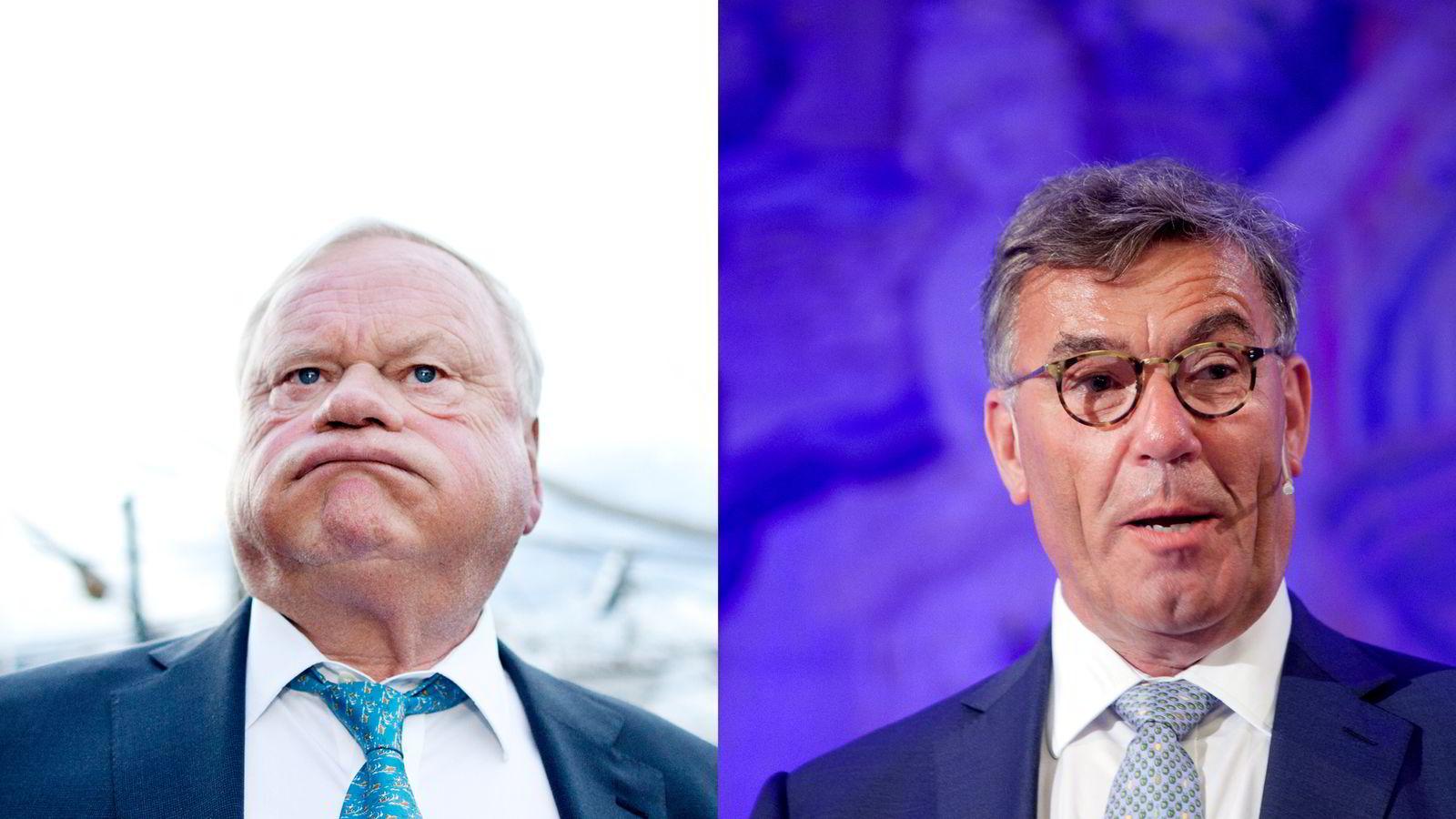 John Fredriksen (t.v.) byr Stein Erik Hagen opp til kamp om eiendomsselskapet Norwegian Property.