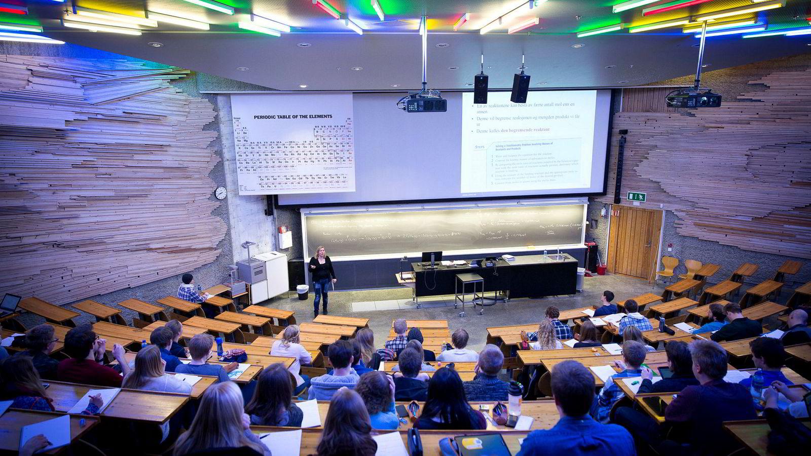 Norge er et så godt som helt likestilt land innen utdannelse. Bildet er fra en forelesning på Gløshaugen, NTNU.