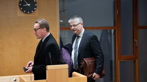 Jens Kuhnle (tv) er finansdirektør i tv-app-selskapet Lavo.tv. Her sammen med advokat Hugo Pedersen Matre i forbindelse med en rettssak i januar.