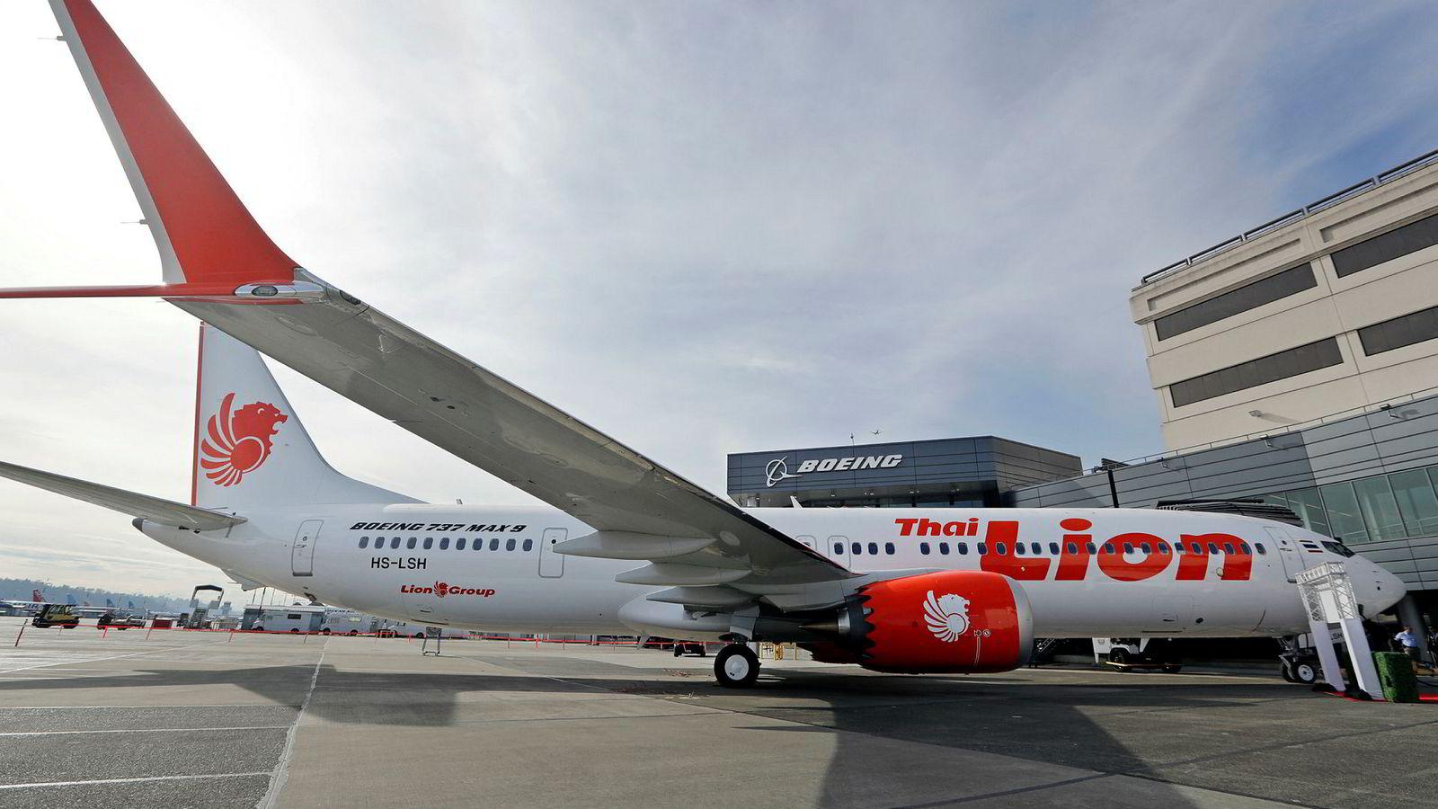 Boeing får kritikk. På bildet er det første 737 Max 9 før det ble overlevert til Thai Lion Air i Seattle.
