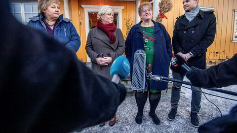 Om KrF ikke får gjennomslag for et eget utviklingsdepartement i regjeringsforhandlingene (bildet), må de i hvert fall stanse den integrerte modellen. Fra venstre, Erna Solberg (H), Siv Jensen (Frp), Trine Skei Grande (Venstre) og Kjell Ingolf Ropstad (KrF).