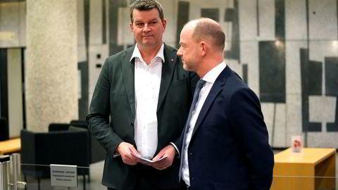 LO-leder Hans-Christian Gabrielsen (t.v.) og NHO-sjef Ole Erik Almlid greide ikke å bli enige om årets lønnsoppgjør gjennom forhandlinger eller frivillig mekling. Helgens mekling er siste mulighet for å unngå streik fra mandag 1. april.