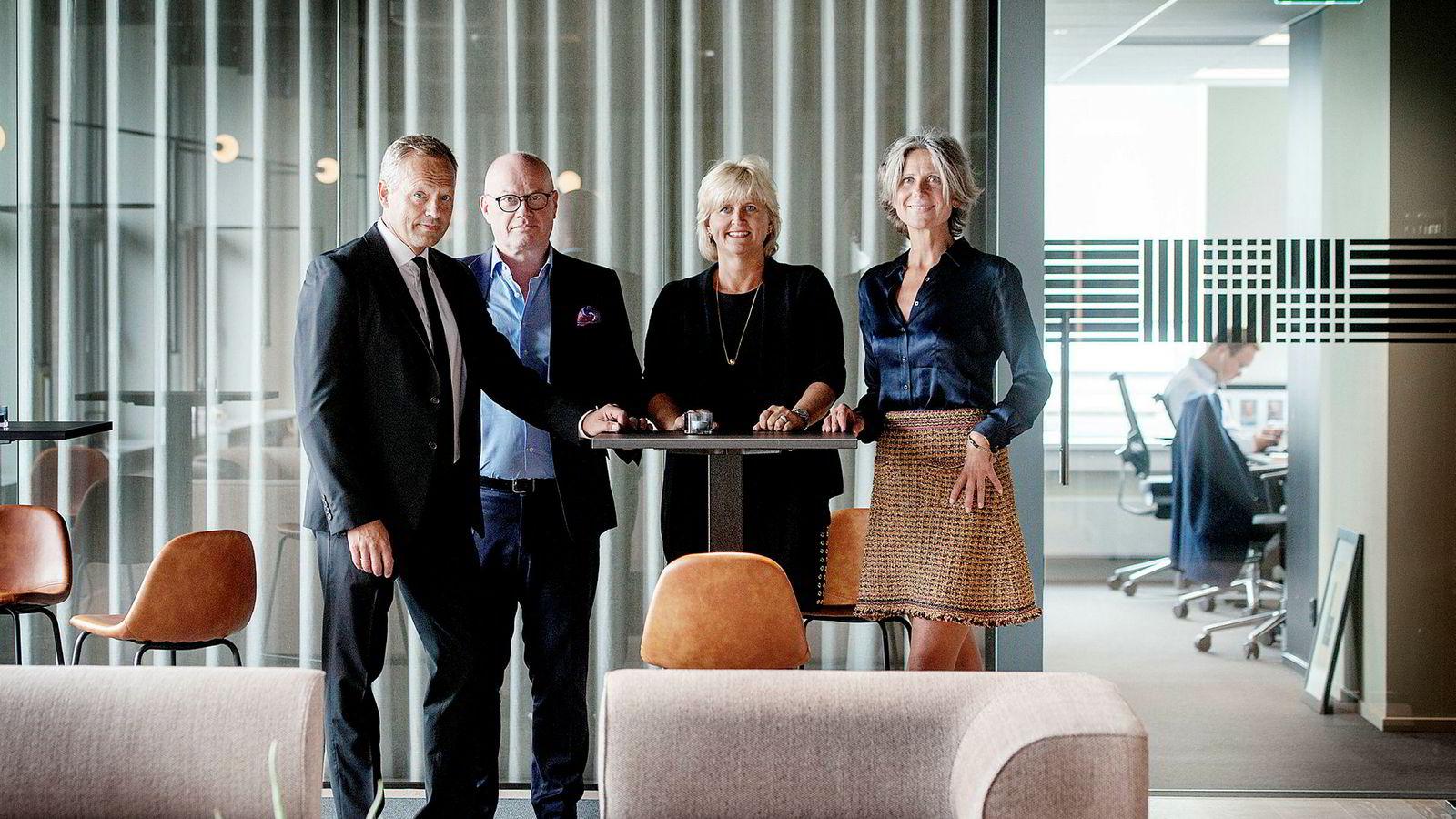 DNs næringslivspanel består av (fra venstre) partner Stig L. Bech i BAHR, direktør og seniorpartner Anne Bruun-Olsen i Cushman & Wakefield Realkapital, administrerende direktør Anne Helene Mortensen i DNB Næringsmegling og administrerende direktør og partner Bård Bjølgerud i Pangea Property Partners.