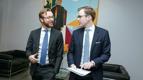 – Det lysner i bransjen, sier oljeserviceanalytiker Fredrik Stene (tii høyre) i Pareto Securities, her med kollega Christopher Mo Dege.