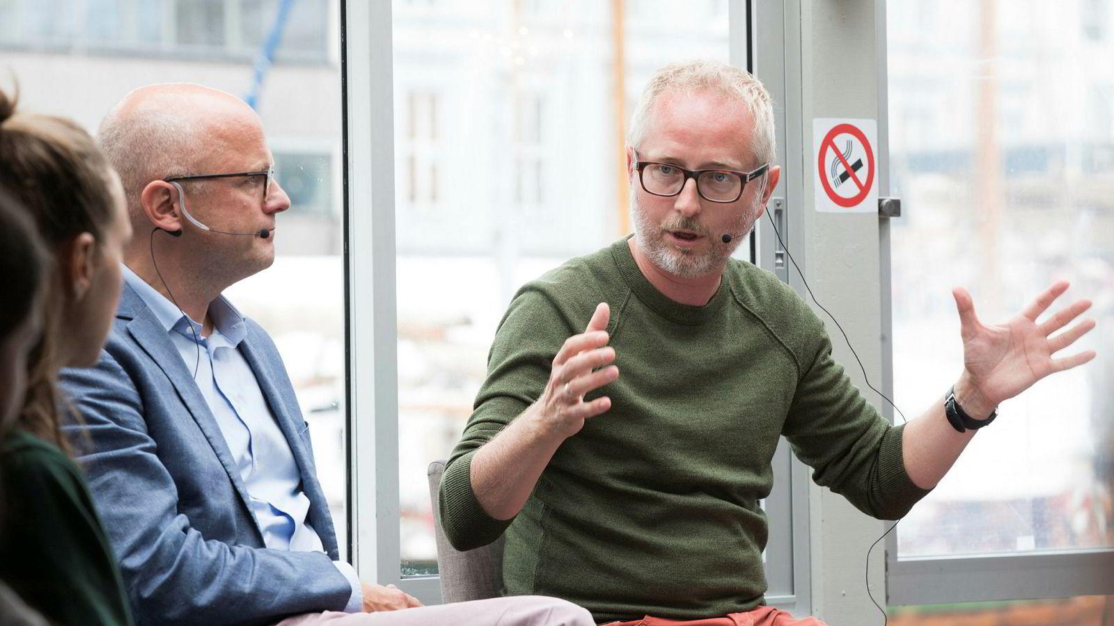 Vidar Helgesen (t.v.) og Bård Vegar Solhjell i debatt om miljøet under Arendalsuka i fjor.