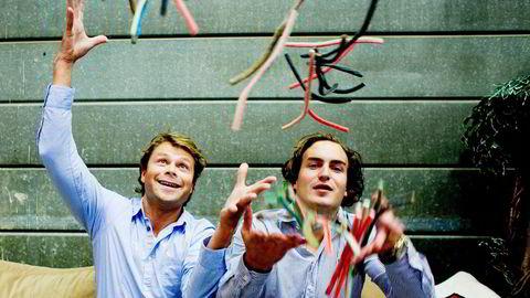 Rmmanuel Scarvounis (26) (til høyre) og Tobias Karem (39) fikk drøye ti millioner kroner hver da de solgte Lakrisgutta til Orkla. Foto: Sara Johannessen/