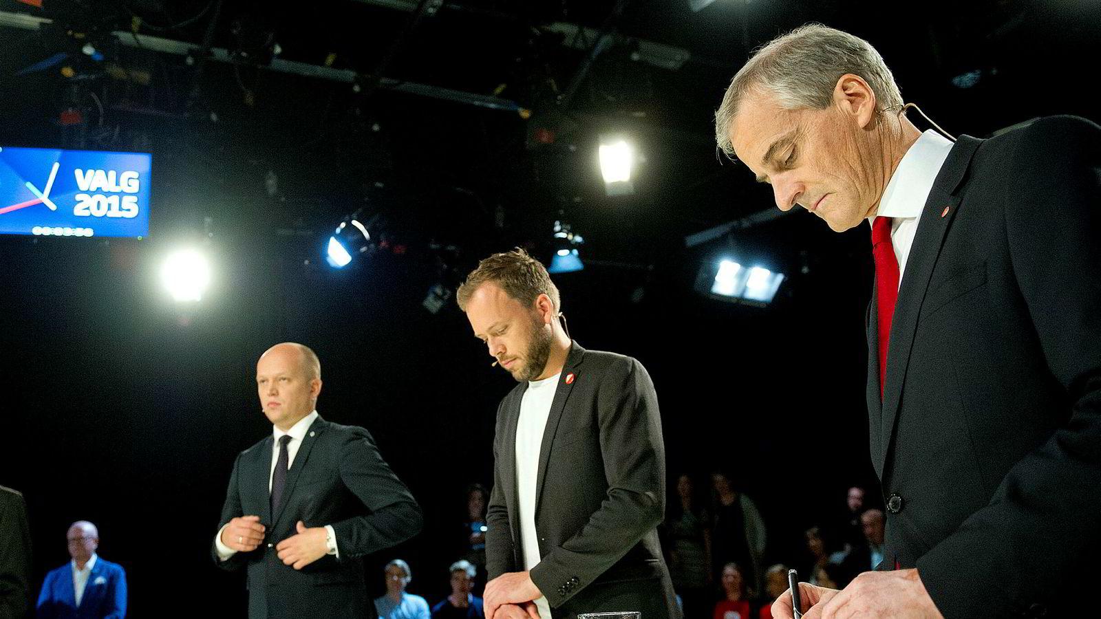 Trygve Slagsvold Vedum (Sp), Audun Lysbakken (SV) og Jonas Gahr Støre (Ap) ville til sammen kun fått 71 plasser på Stortinget med DNs februarmåling. Flertall på Stortinget krever 85 mandater.