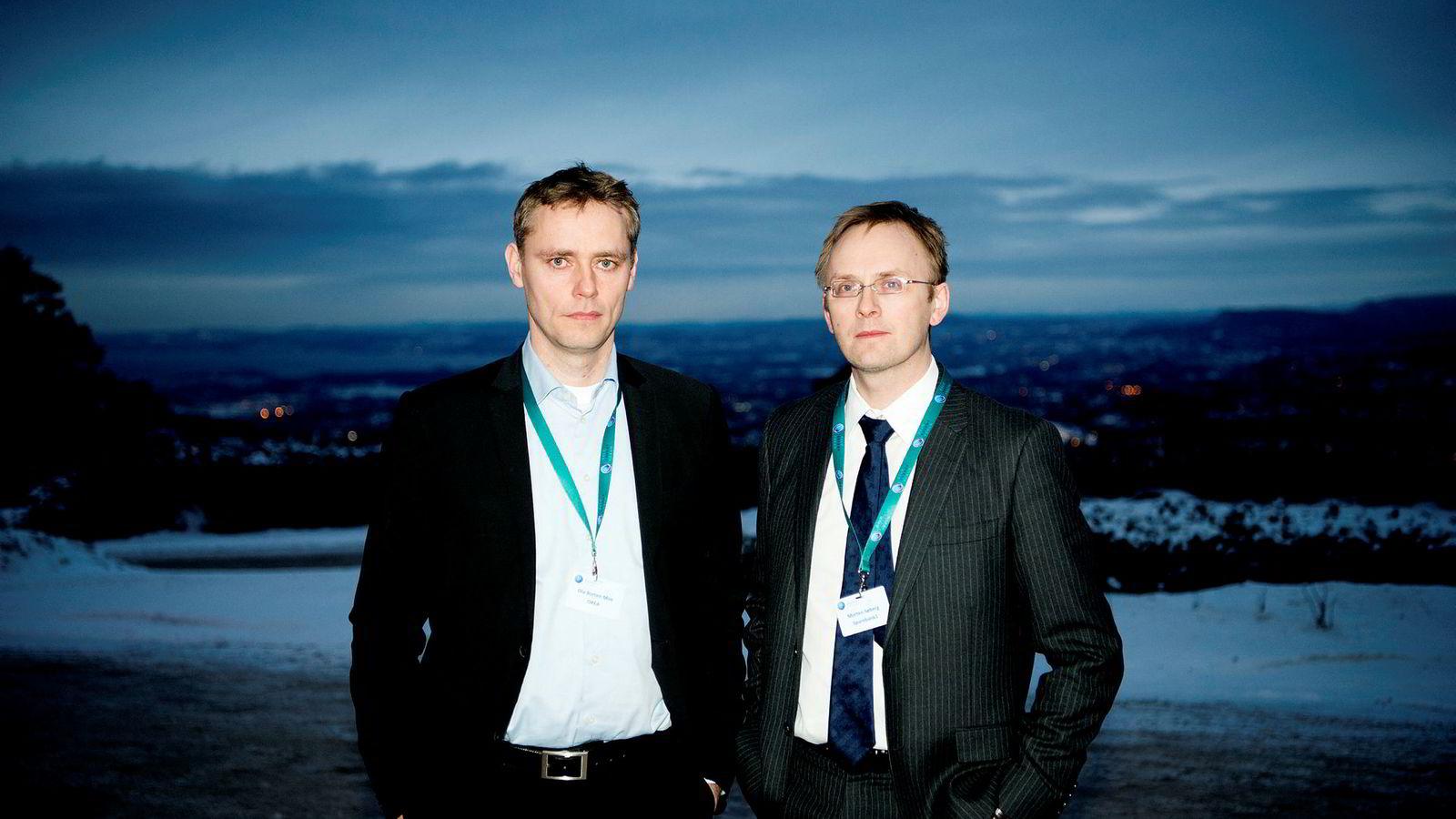 Ola Borten Moe i Okea (til venstre) og Morten Søberg i Sparebank 1.