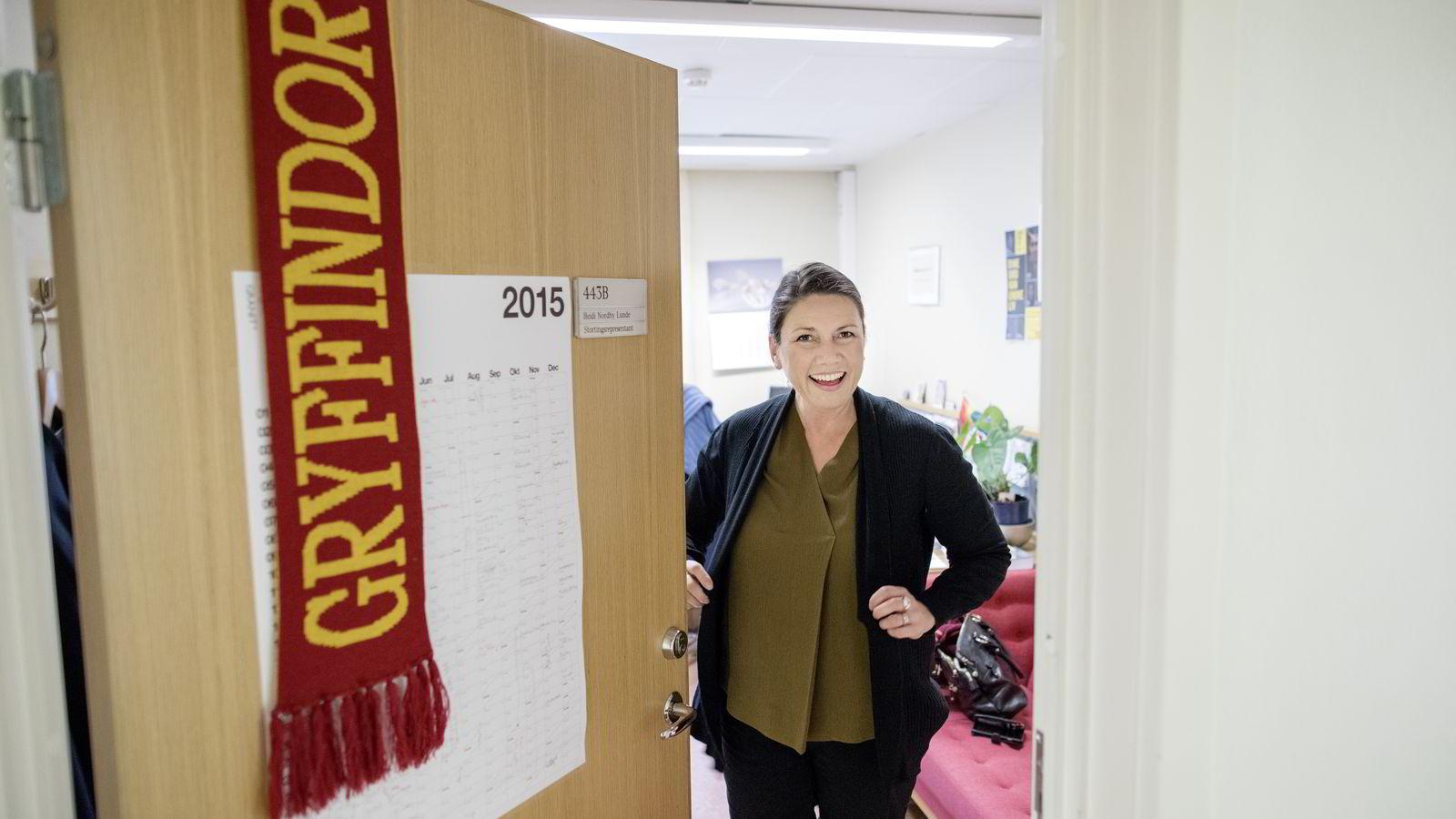 Høyres stortingsrepresentant, Heidi Nordby Lunde, på sitt kontor på Stortinget.