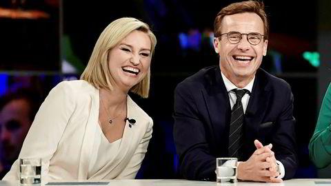 Ebba Busch Thor, leder av Kristdemokraterna, og Ulf Kristersson, leder for Moderaterna.