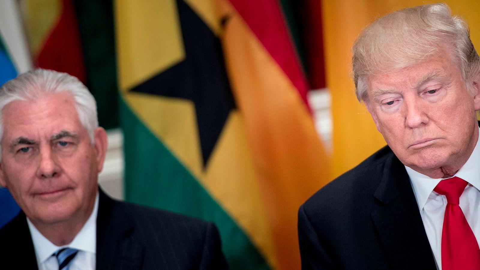 President Donald Trump (til høyre) vil ta en intelligenstest for å finne ut om han er smartere enn utenriksminister Rex Tillerson.