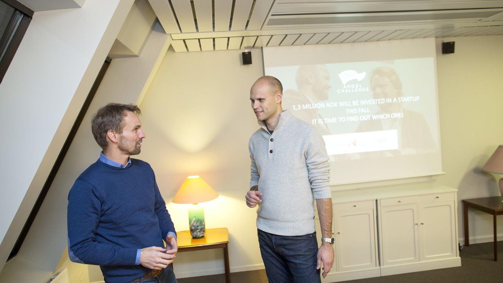 Thomas Berglund (til venstre) og Knut Wien har sammen med 25 investorer kommet frem til en felles oppskrift for hva en investor bør se etter i en oppstartsbedrift. Foto:
