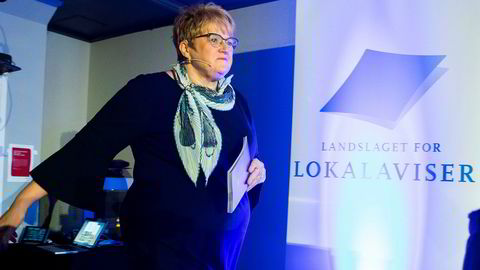 Kulturminister Trine Skei Grande (V) presenterte Mediemeldingen under landsmøtet til Landslaget for lokalaviser (LLA) i Drammen fredag.
