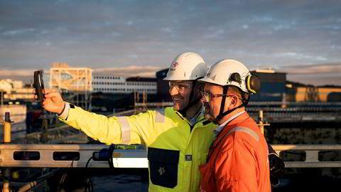 Kjetel Digre, sjef for Johan Sverdrup utbyggingen i Statoil, har fått ned byggekostnadene for Sverdrup-utbyggingen med nye fem milliarder kroner. Her fra boreplattformen som bygges i Haugesund Foto: Tommy Ellingsen