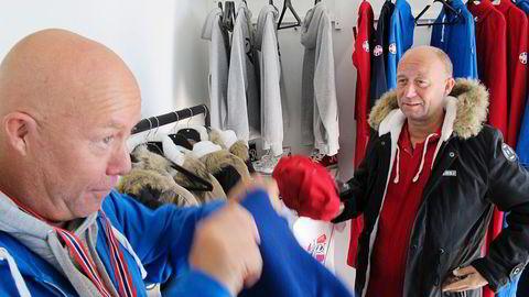 Tom (til venstre) og Per Bjarne Tellefsen i Kristiansand-selskapet Printprofil gjør et forsøk på å utfordre svært lønnsomme Redress/Russeservice i markedet for russeutstyr. Foto: Harald Berglihn