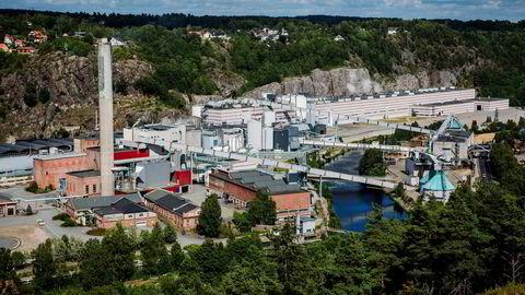 Norske skog Saugbrugs i Halden. Treforedlingsindustrien er blant vinnerne av en svak krone, ifølge direktør Knut E. Sunde i Norsk Industri.