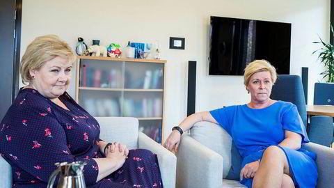 Erna Solberg og Høyre har fått mange ganger så mye i valgkampstøtte fra ulike velgjørere som Frp og Siv Jensen.