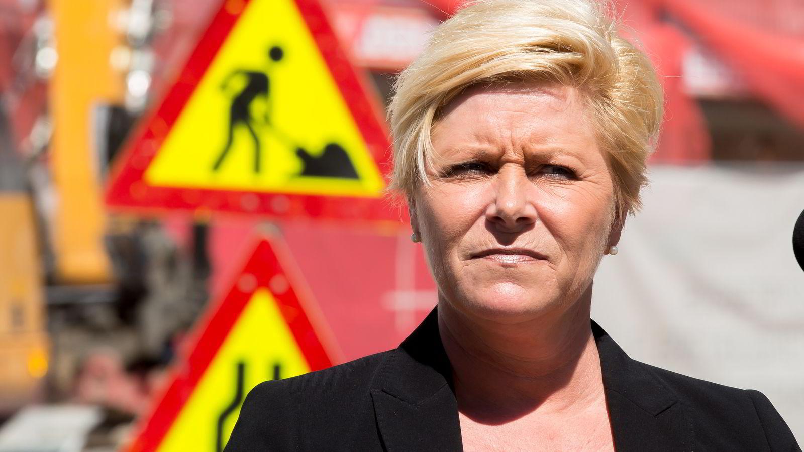 MED TILTAK. Finansminister Siv Jensen under fremleggelsen av Regjeringens strategi for boligmarkedet.               Foto: Cornelius Poppe /