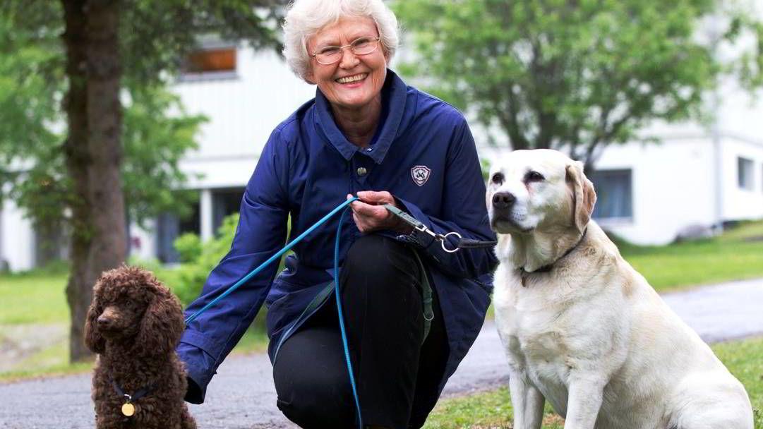 Tidligere miljøpolitisk talskvinne for Høyre, Bente Bakke, meldte i 2011 overgang til Miljøpartiet De Grønne. Her avbildet med turkameratene Bruno (den lille) og Bella.