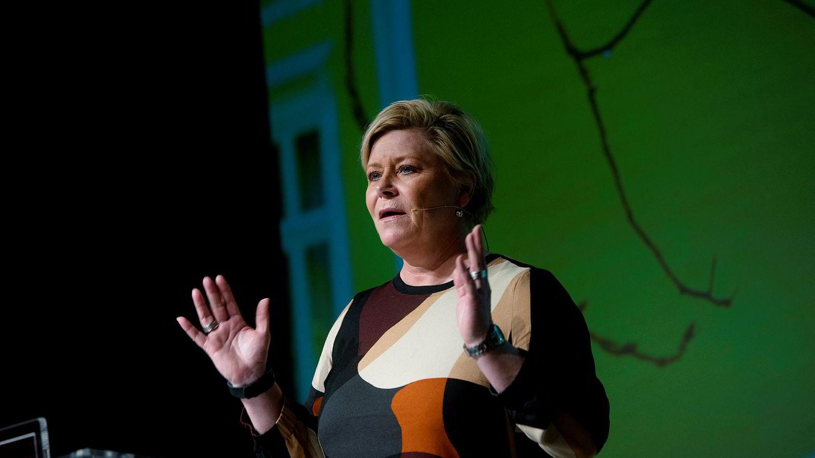 Finansminister Siv Jensen (Frp), her på Eiendom Norges konferanse.
