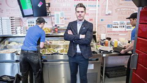 Magnus Haflidason, som er toppleder selskapet bak Domino's pizzarestauranteri Norge, gjør seg klar til å rulle ut en rekke nye utsalgssteder i Norge og Sverige. Foto: Aleksander Nordahl