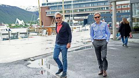 Gründerne Ole Monsen (til venstre) og Per Aronsen selger seg ned i Saltdalsbygg.