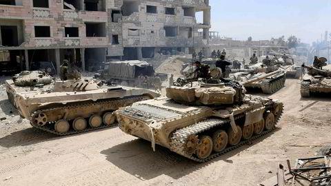 Syriske armetropper samler seg for å angripe rebellstyrkene i Øst-Ghouta i begynnelsen av april. Krigen i Syria er ikke lenger bare en borgerkrig, men et regionalt og globalt stormaktsspill og i økende grad episenteret for et oppgjør mellom USA og Russland.