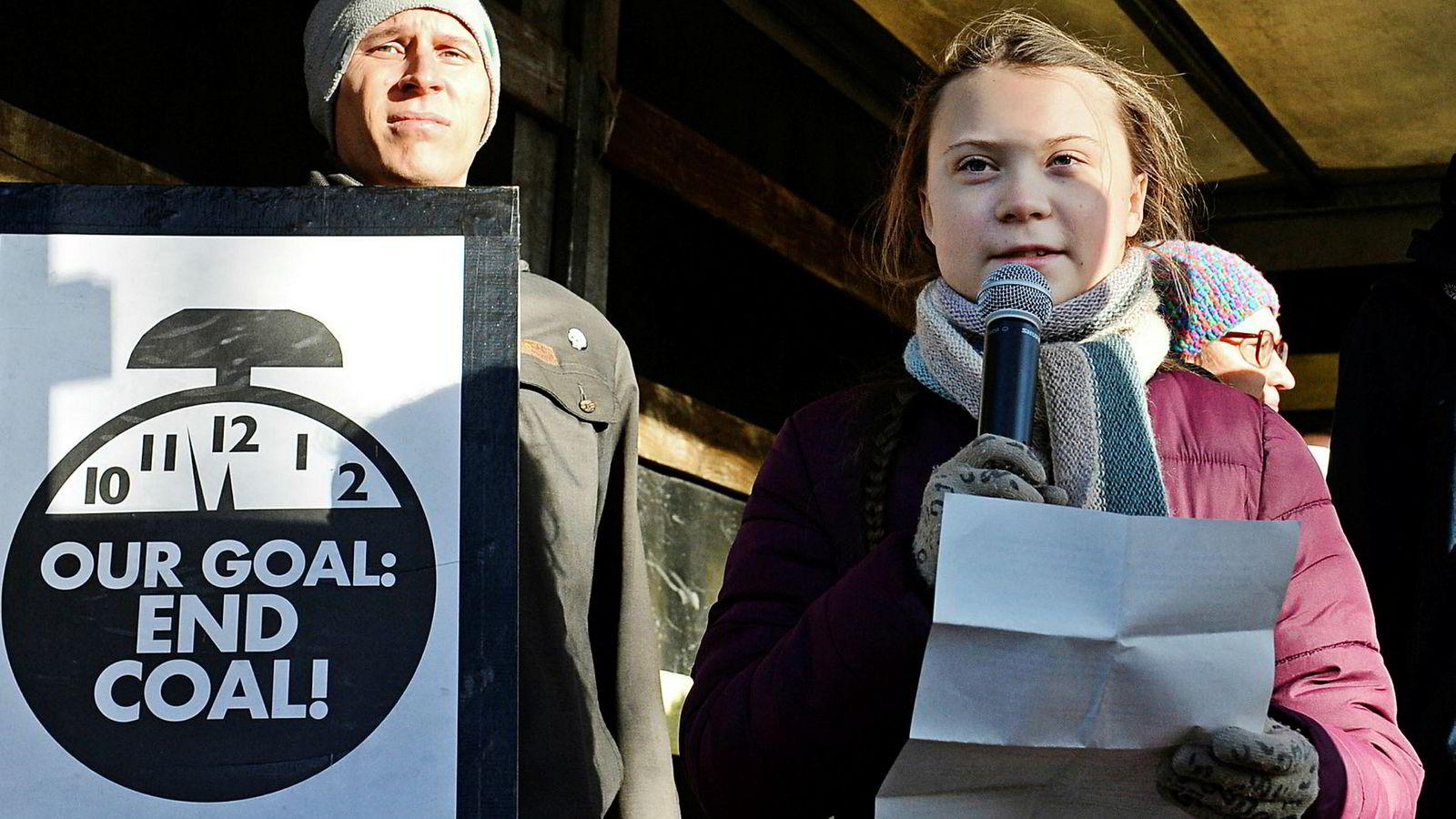 15 år gamle Greta Thunberg ble kjent verden over da hun skolestreiket for klima under den svenske valgkampen i høst. Her holder hun appell under klimamøtet som har pågått i Katowice i Polen de siste to ukene.