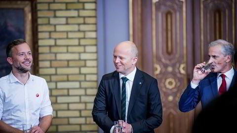 Det ble et historisk lokalvalg for Trygve Slagsvold Vedum (i midten) og Senterpartiet. Til venstre for han er SV-leder Audun Lysbakken, og Arbeiderparti-leder Jonas Gahr Støre til høyre. Her fra partilederdebatten mandag kveld.