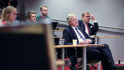 Norwegian-sjef Bjørn Kjos under flyselskapets kvartalspresentasjon torsdag.