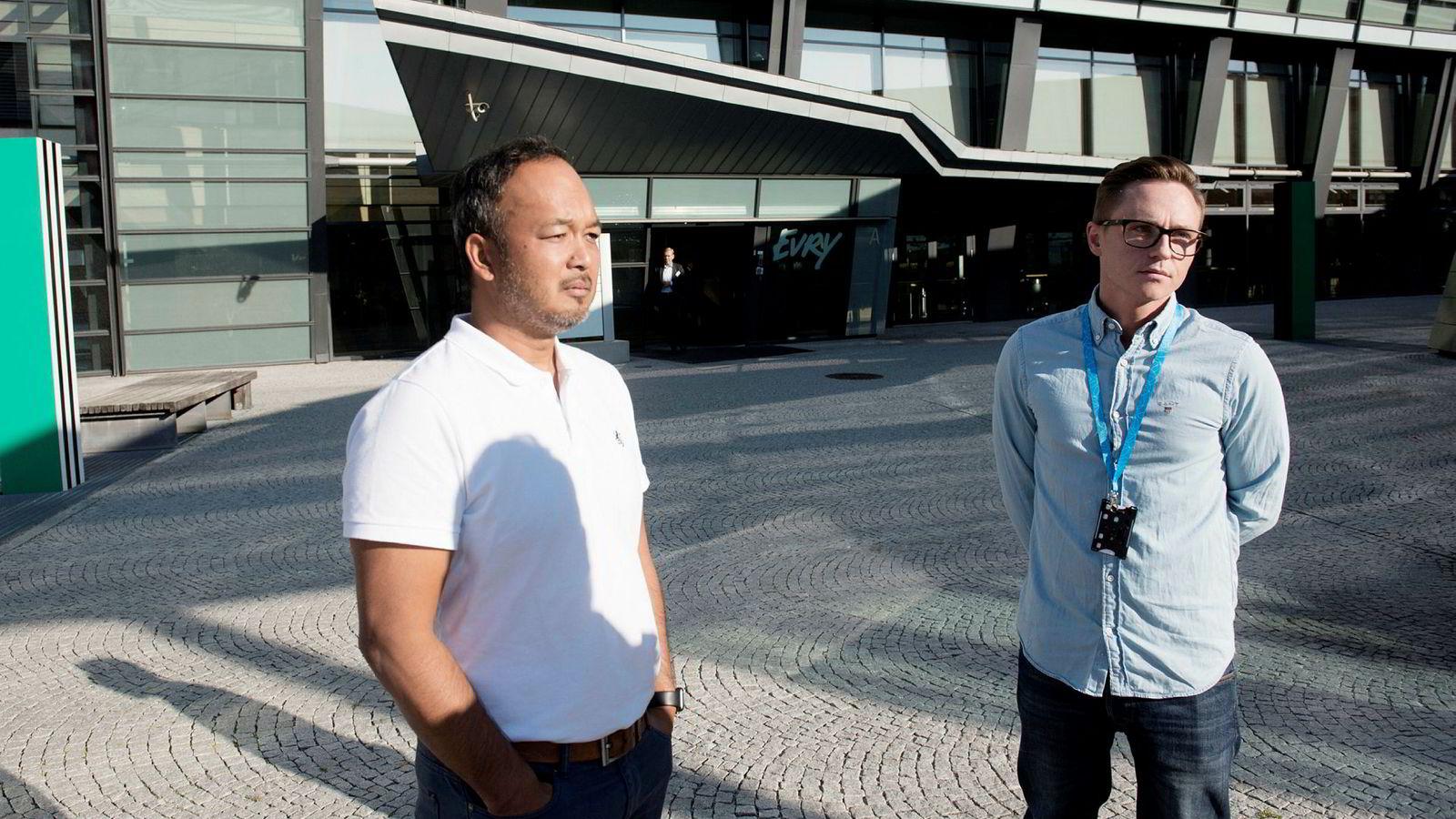 Kosom Alexsander Skaale, (til venstre) hovedtillitsvalgt i Telenor og el og it forbundet Telenor Norge og konserntillitsvalgt i Telenor Esben Smistad.