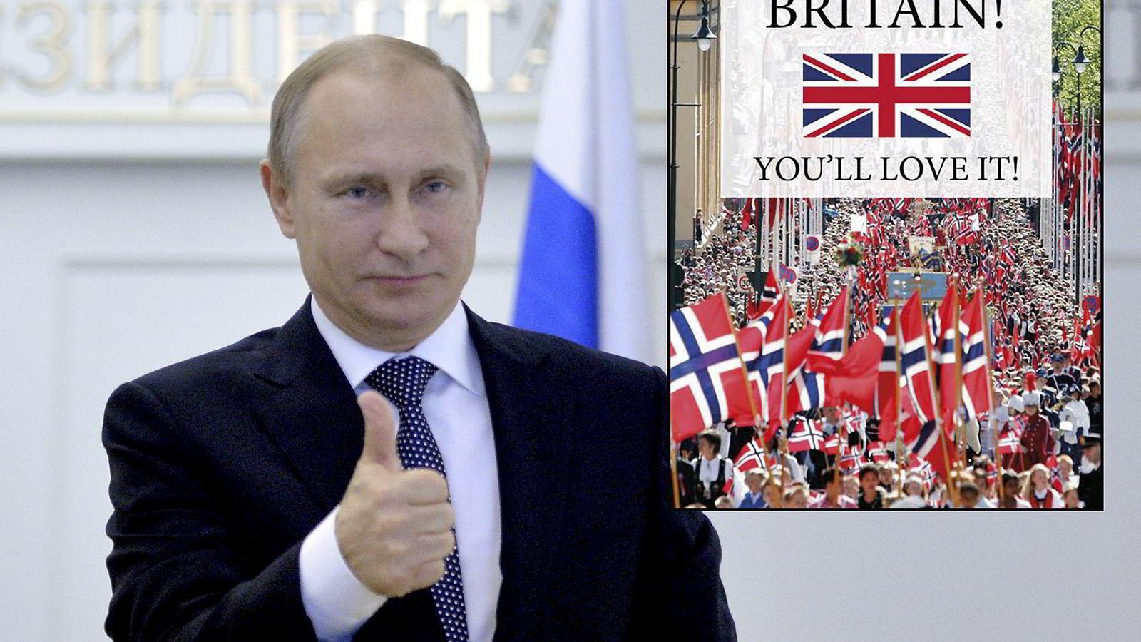 Dette bildet av Russlands president la Venstres Sveinung Rotevatn ut som en kommentar på Liv Signe Navarsetes budskap om at britene bør stemme for å forlate EU. Navarsetes Facebook-post til høyre. Foto: Alexei Druzhinin/RIA Novosti/Reuters/NTB Scanpix
