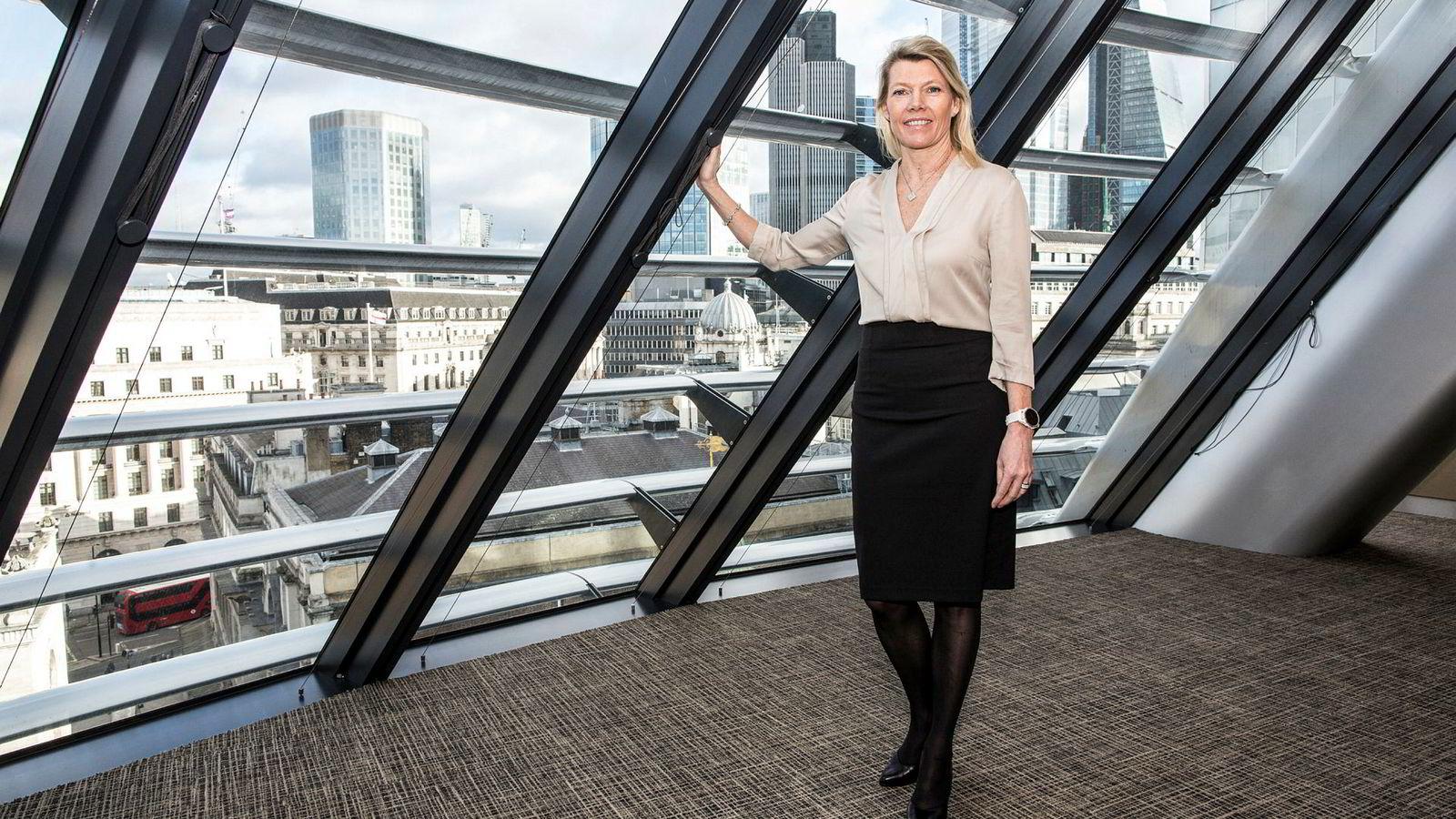 Finansdirektør Kjerstin Braathen i DNB fotografert i forbindelse med kvartalsfremleggelsen i London torsdag.