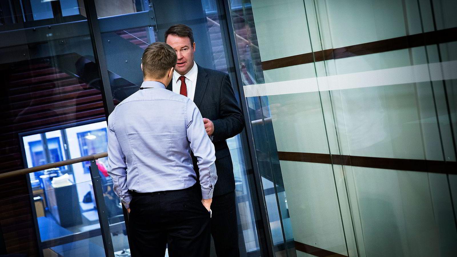 Trond F. Mellingsæter er tilbake i Danske Bank som leder for personkundeområdet og starter 2015 med å kutte rentene. Her i samtale med kommunikasjonssjef Stian Arnesen.