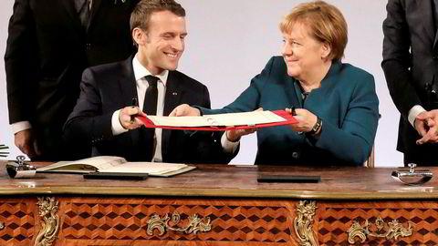 Tirsdag underskrev Frankrikes president Emmanuel Macron og Tysklands forbundskansler Angela Merkel en 16 siders traktat som lover tysk-fransk samarbeid innen en rekke sektorer.