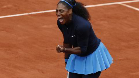 Den amerikanske tennisspilleren Serena Williams under semifinalen i French Open i helgen. Foto: REUTERS/Benoit Tessier