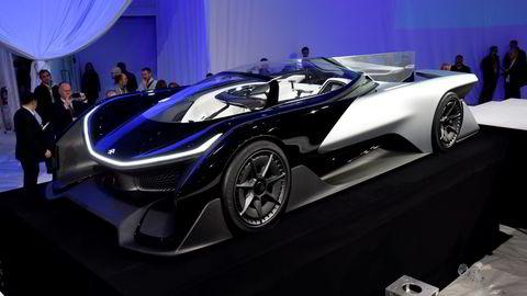 Den nye el-bilen til Faraday Future ble vist frem for første gang på CES-konferansen i Las Vegas mandag. Foto: David Paul/