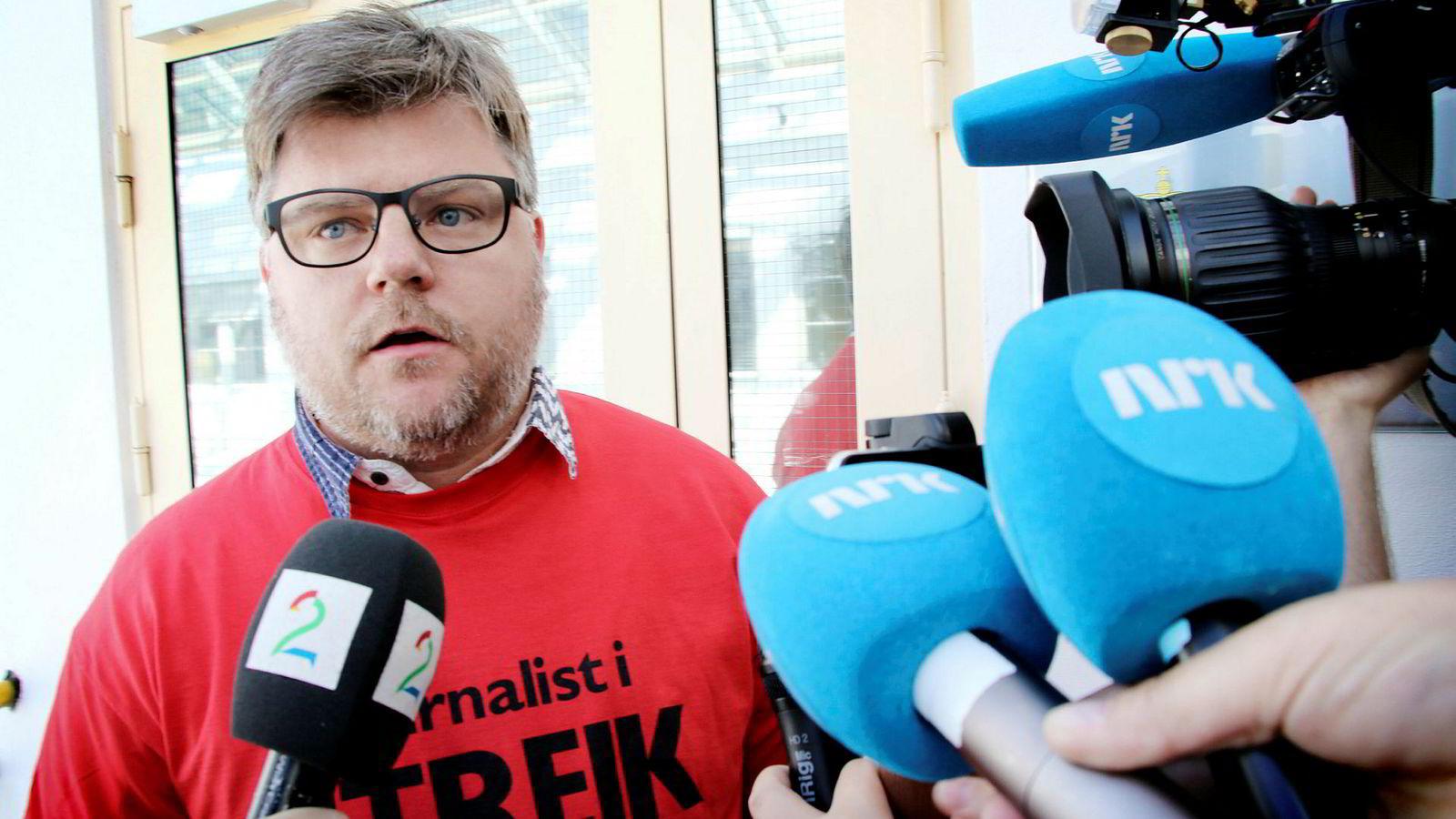 NJ-leder i NRK Richard Aune informerer om at NJ-ansatte i NRK går ut i streik.